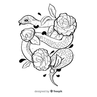 Ilustración de serpiente con flores