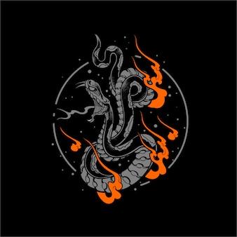 Ilustración de serpiente de fuego