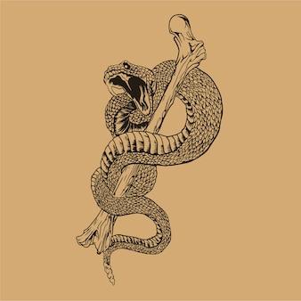 Ilustración de serpiente y huesos