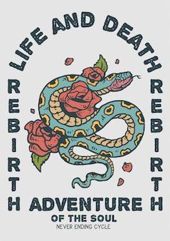 Ilustración de serpiente con rosa con estilo vintage