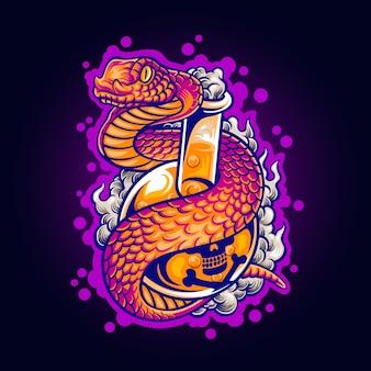 Ilustración de serpiente venenosa