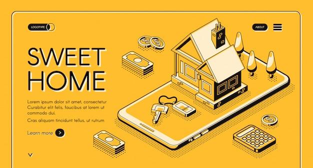 Ilustración del servicio de agencia inmobiliaria en línea delgada isométrica sobre fondo de semitono amarillo.