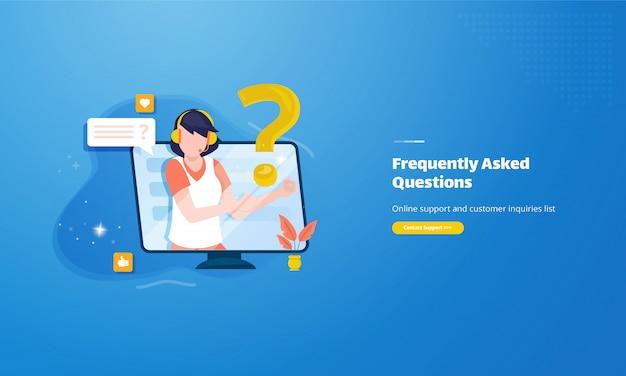 Ilustración de servicio al cliente para el concepto de preguntas frecuentes en línea