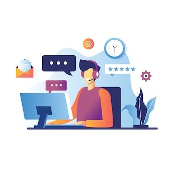 Ilustración del servicio al cliente de operador de hombre sonriente, operador de línea directa masculino aconseja al cliente, soporte técnico global en línea 24/7, cliente y operador