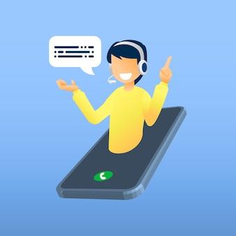 Ilustración, servicio al cliente, operador masculino de línea directa informa al cliente