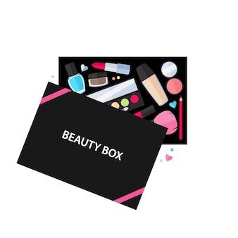 Ilustración de servicio de cosméticos de caja de belleza. maquillaje accesorios de belleza.