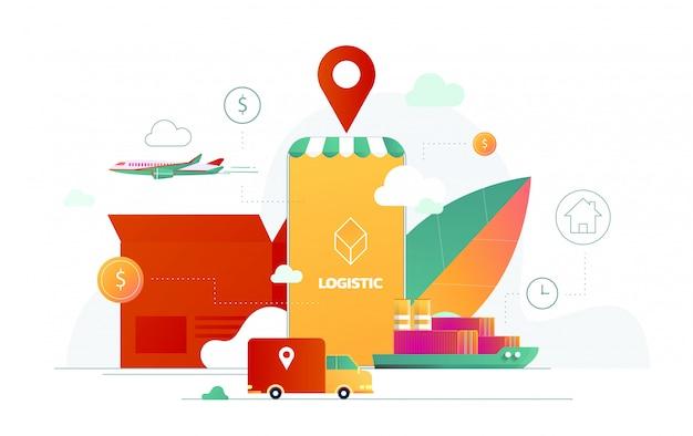 Ilustración de servicio de entrega para tecnología de aplicaciones móviles de transporte logístico. diseño de cartel isométrico de smartphone y camión de reparto.