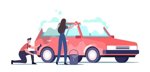 Ilustración de servicio de lavado de autos