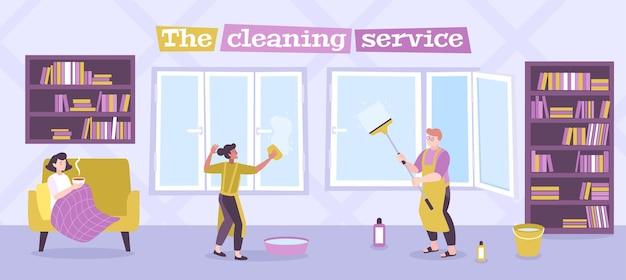 Ilustración de servicio de limpieza de ventanas residenciales.