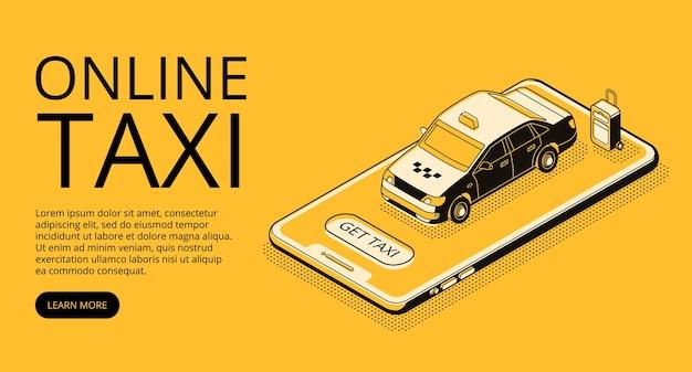 Ilustración de servicio de taxi en línea en líneas finas y estilo de semitono isométrico negro.