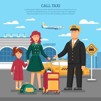 Ilustración de servicio de taxi
