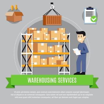Ilustración de servicios de almacén