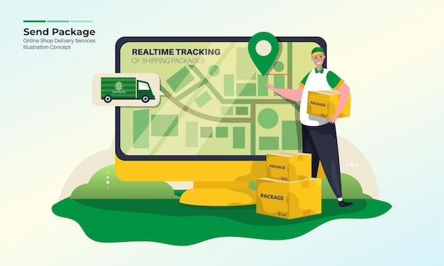 Ilustración de servicios de entrega con seguimiento de paquetes en concepto de tiempo real