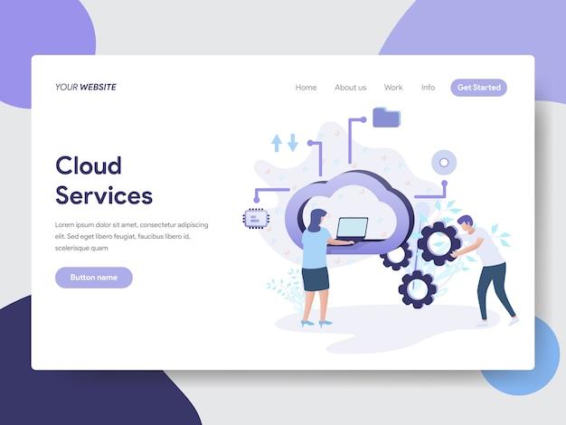 Ilustración de servicios en la nube para páginas web