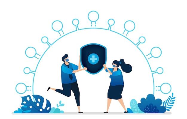Ilustración de servicios de seguro de protección de la salud.