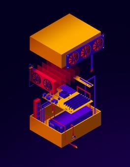 Ilustración del servidor de ensambla para la minería de criptomonedas.