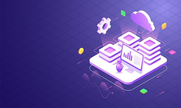Ilustración del servidor en la nube conectado al servidor local.