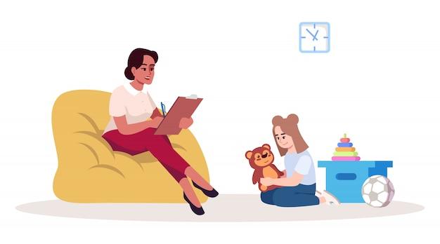 Ilustración de sesión de terapia infantil