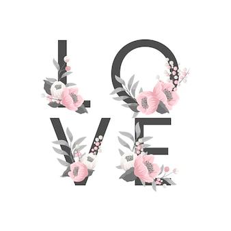 Ilustración con signo amor, flores, rosas, manzanillas.