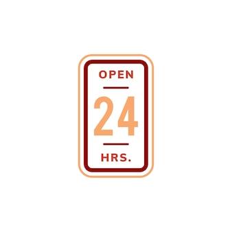 Ilustración de signo de banner abierto las 24 horas