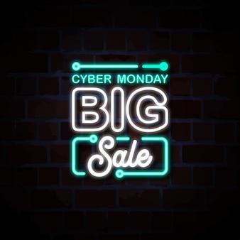 Ilustración de signo de estilo de neón de ciber lunes gran venta