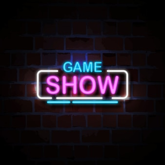 Ilustración de signo de estilo de neón del programa de juegos