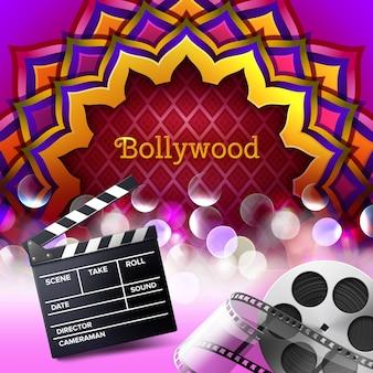 Ilustración del signo de logotipo indio bollywood en adorno de mandala de colores