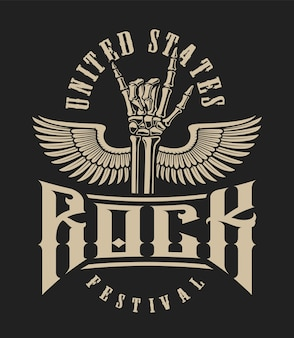 Ilustración de un signo de mano de roca con alas sobre un fondo oscuro. perfecto para camisetas y muchos otros.