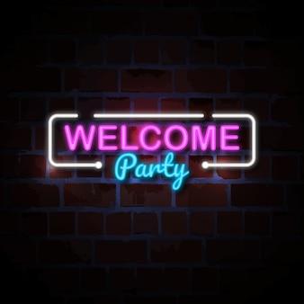 Ilustración de signo de neón de fiesta de bienvenida