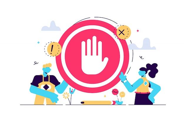 Ilustración de signo de parada prohibición minúscula plana no gesto persona concepto. advertencia simbólica, peligro o información de precaución de seguridad. entrada prohibida o prohibición de área restringida o alerta de carretera bloqueada.