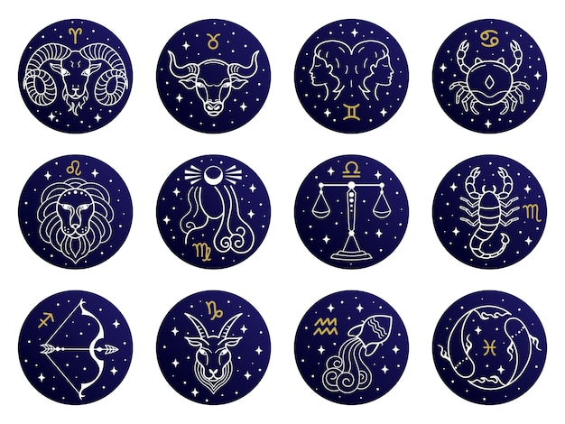 Ilustración de signos del zodíaco astrológico