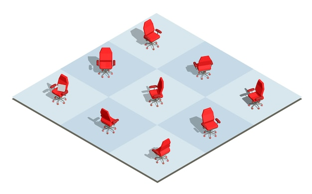 Ilustración del sillón de oficina rojo con un cartel vacío en diferentes ángulos en el tablero