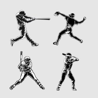 Ilustración de silueta de béisbol