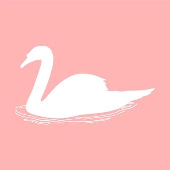 Ilustración de silueta de cisne