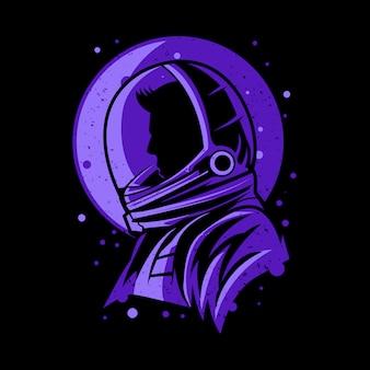 Ilustración de silueta de hombre astronauta aislado sobre fondo oscuro