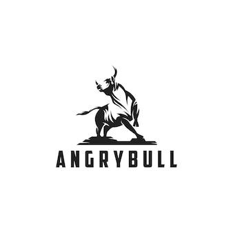 Ilustración de silueta de logotipo de toro