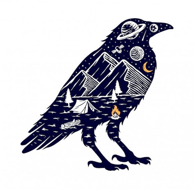 Ilustración de silueta de montaña y cuervo