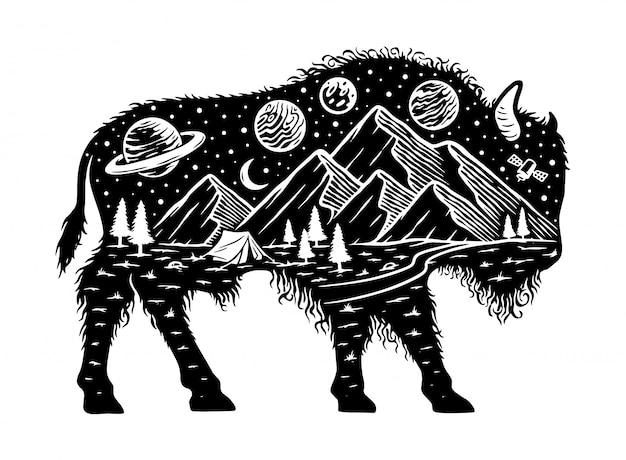 Ilustración de silueta de naturaleza y bisonte