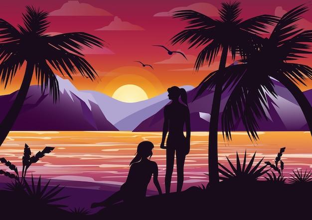 Ilustración de silueta de pareja de amigos de chicas en la playa bajo la palmera en el fondo del atardecer y las montañas.