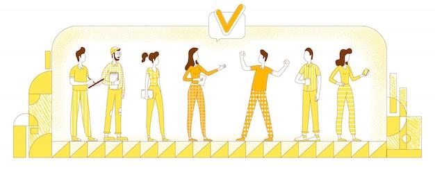 Ilustración de silueta plana de contratación de personal. trabajadores de la empresa, colegas delinean caracteres sobre fondo amarillo. selección de empleados, reclutamiento corporativo, dibujo de estilo simple de headhunting