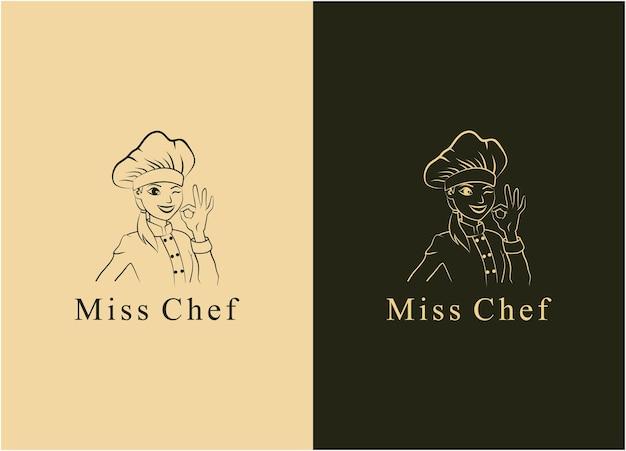 Ilustración silueta señorita chef carácter signo logo restaurante icono
