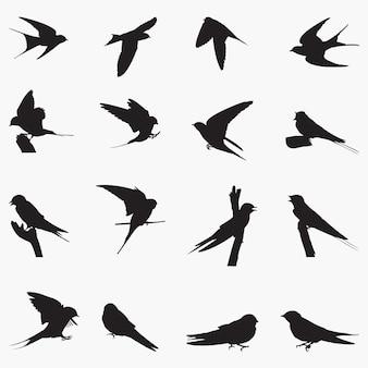 Ilustración de siluetas de golondrina común