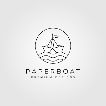 Ilustración de símbolo de logotipo minimalista de arte de línea de barco de papel