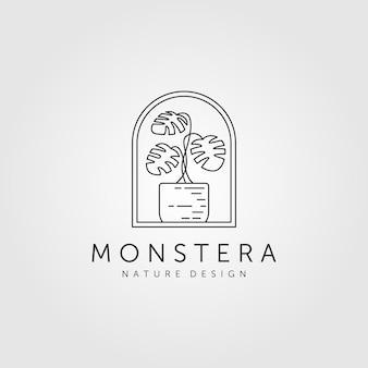 Ilustración de símbolo de logotipo minimalista de arte de línea de planta monstera de naturaleza