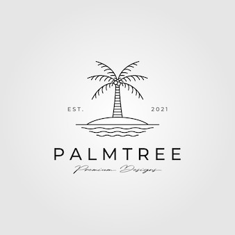 Ilustración de símbolo minimalista de logotipo de arte de línea de palmera