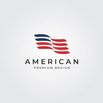 Ilustración de símbolo minimalista del logotipo de la bandera americana