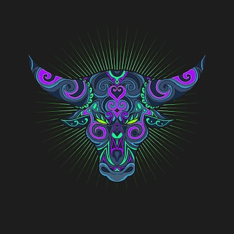 Ilustración de símbolo de ornamento de cabeza de toro