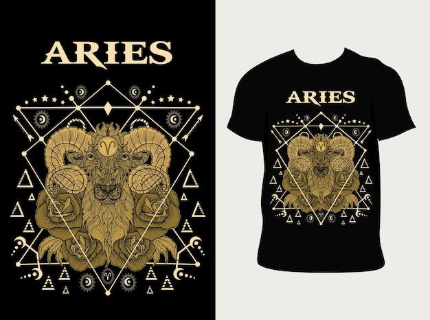 Ilustración símbolo del zodiaco aries vintage