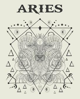 Ilustración símbolo del zodíaco aries
