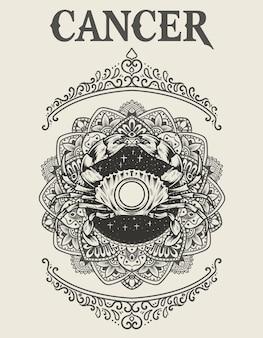 Ilustración símbolo del zodiaco cáncer estilo monocromo